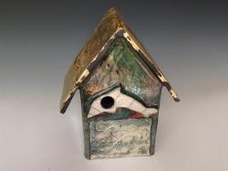 Raku pottery birdhouse dolphin